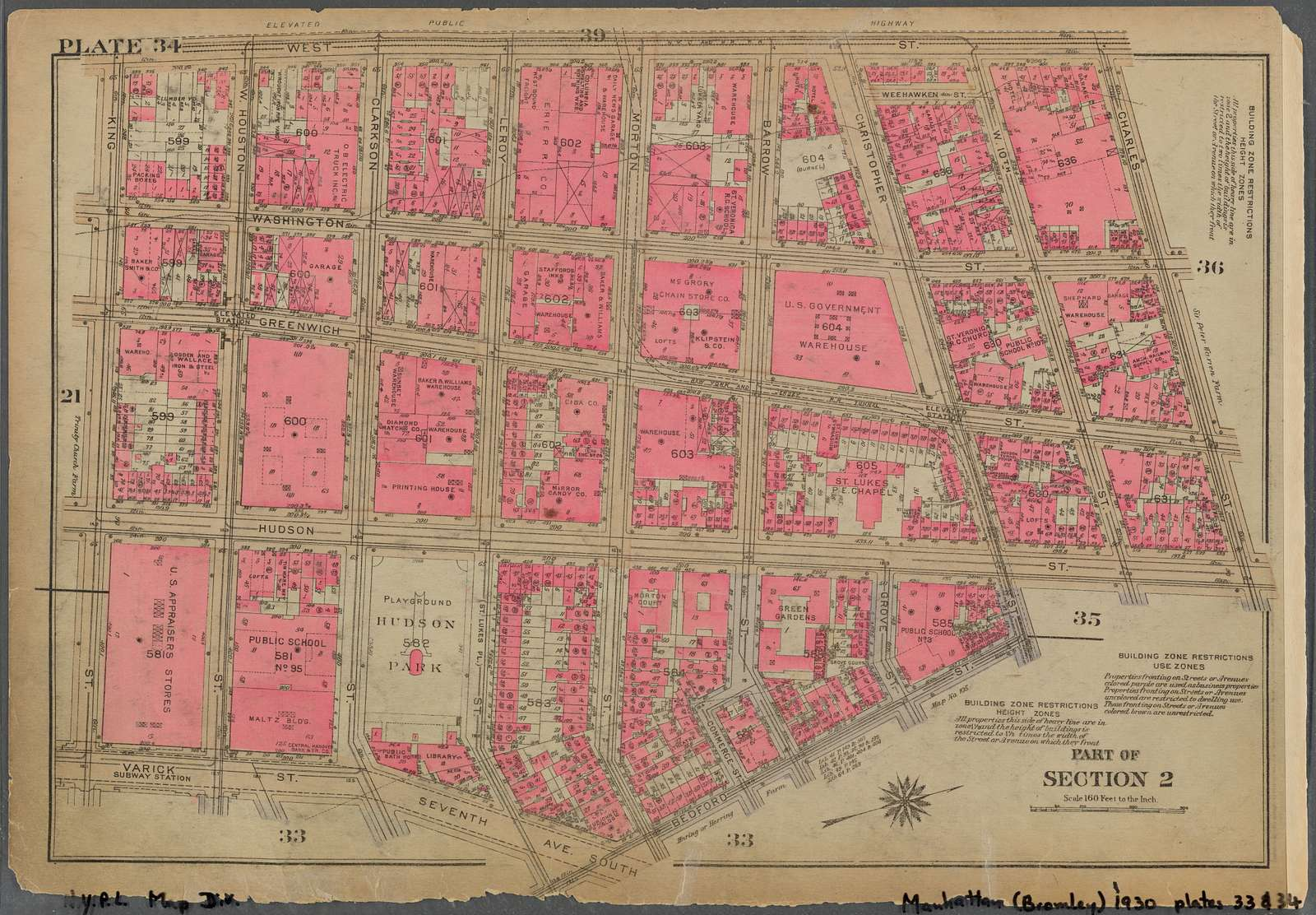 Plate 34, Part of Section 2: [Bounded by West Street, Charles Street, Hudson Street, Christopher Street, Bedford Street, Seventh Avenue South, Varick Street and King Street]