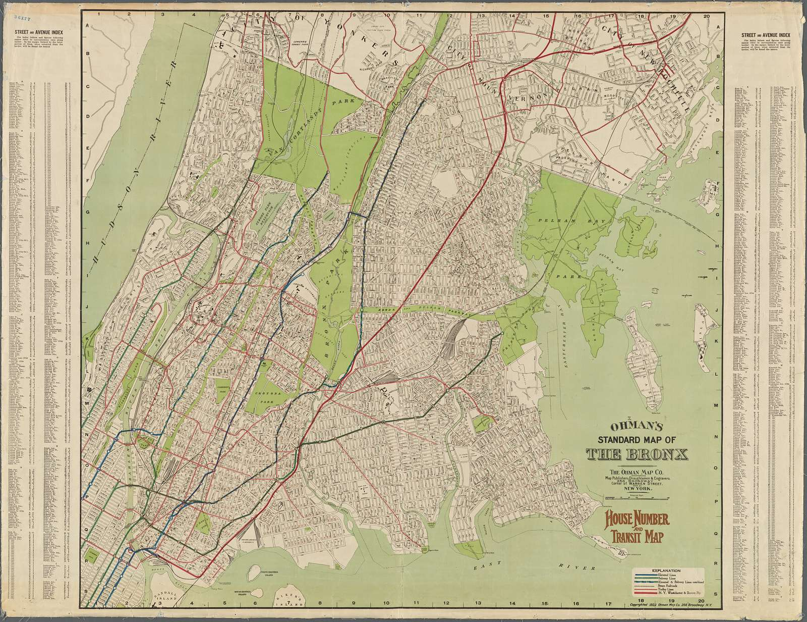 Ohman's Standard Map of the Bronx. House numbers and transit map.
