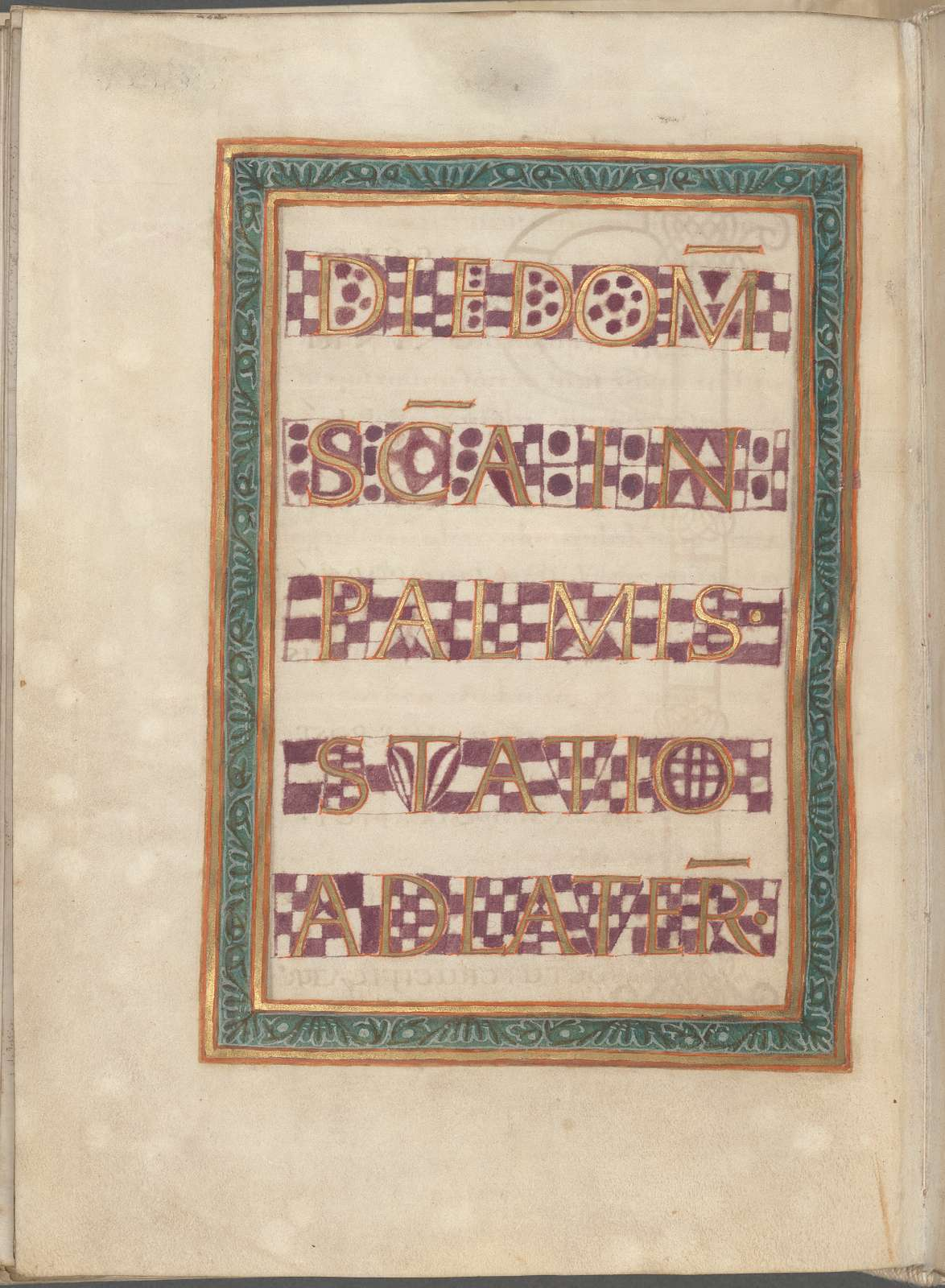 Title for Palm Sunday.  Frame of gold and green.  Text in gold capitals with an irregular purple checkerboard background.
