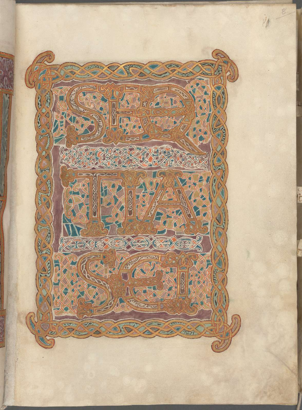 Elaborate text page in gold, purple and green:  Sequentia sancti