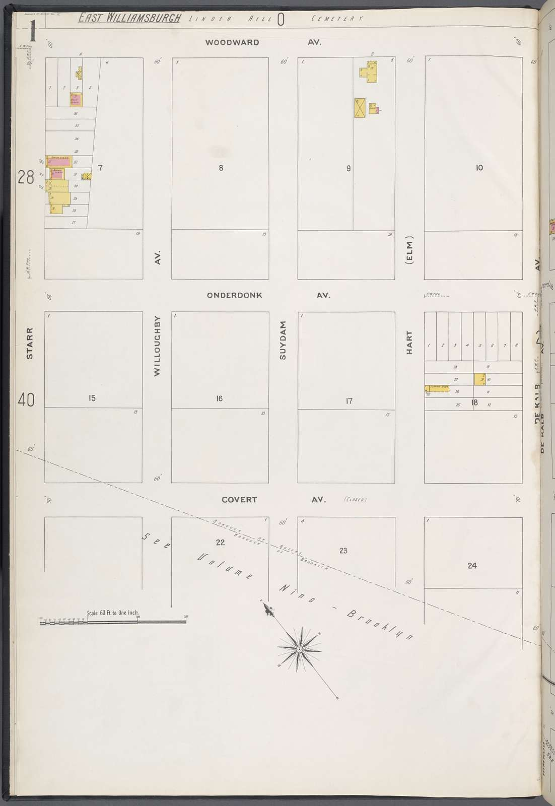 Queens V. 3, Plate No. 1 [Map bounded by Woodward Ave., De Kalb Ave., Covert Ave., Starr]