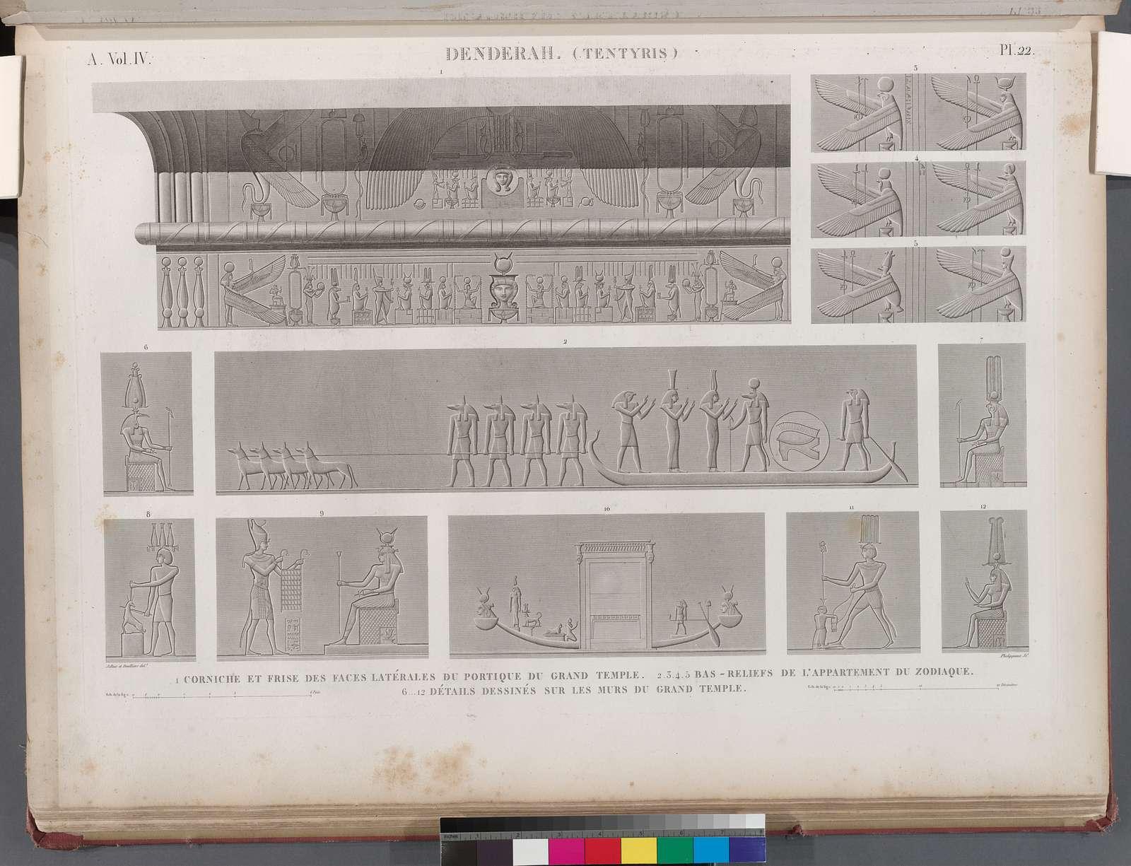 Denderah [Dandara] (Tentyris). 1. Corniche et frise des faces latérales du portique du Grand Temple; 2-5. Bas-reliefs de l'appartement du Zodiaque; 6-12. Détails dessinés sur les murs du Grand Temple.