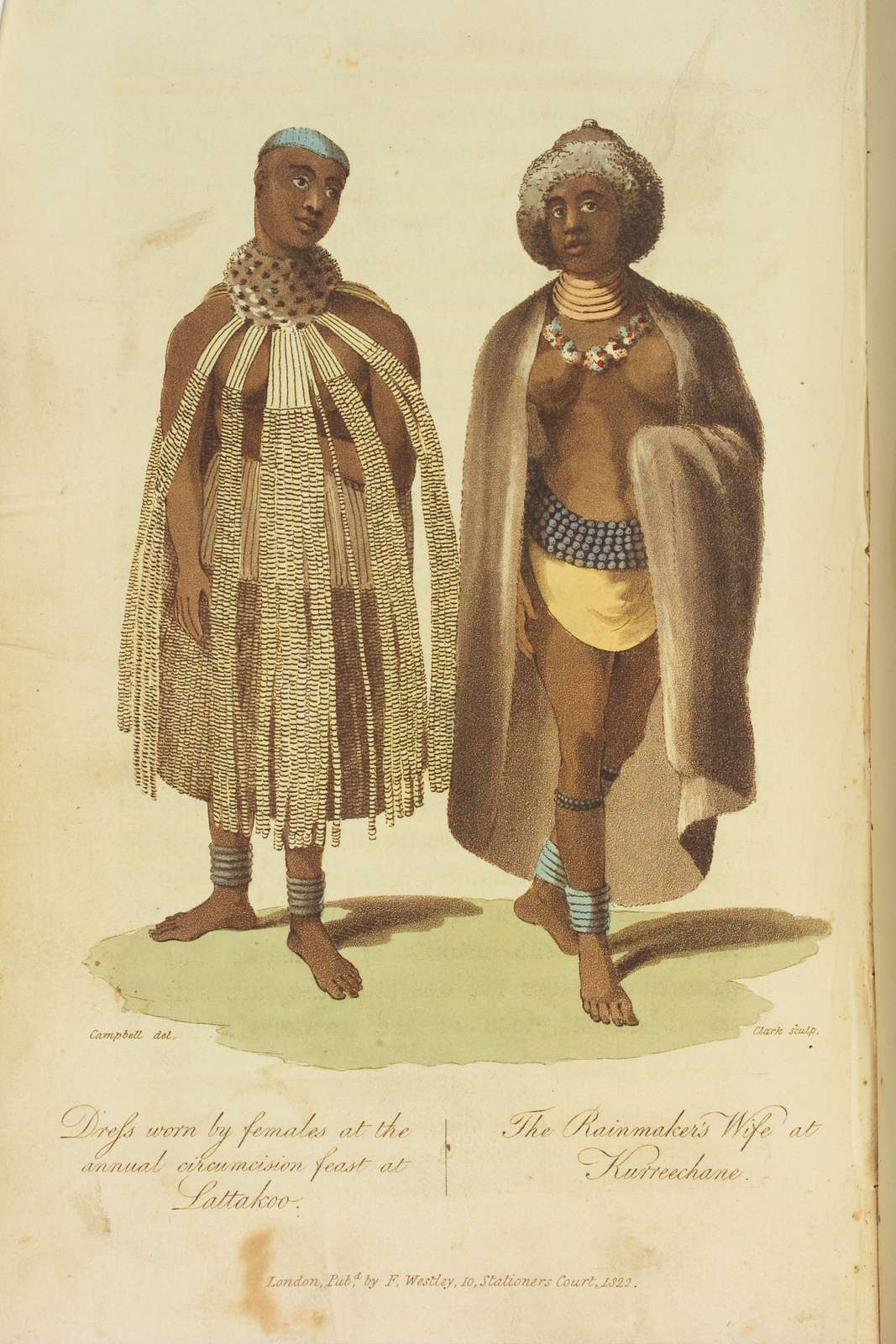 Dress worn by females at the annual circumcision feast at Lattakoo.  The Rainmaker's Wife at Kurreechane.