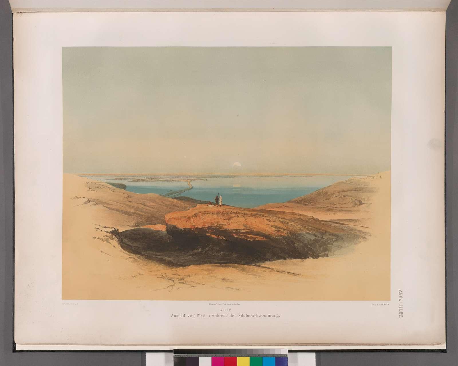 Siut [Asyût]: Ansicht von Westen während der Nilüberswemmung.