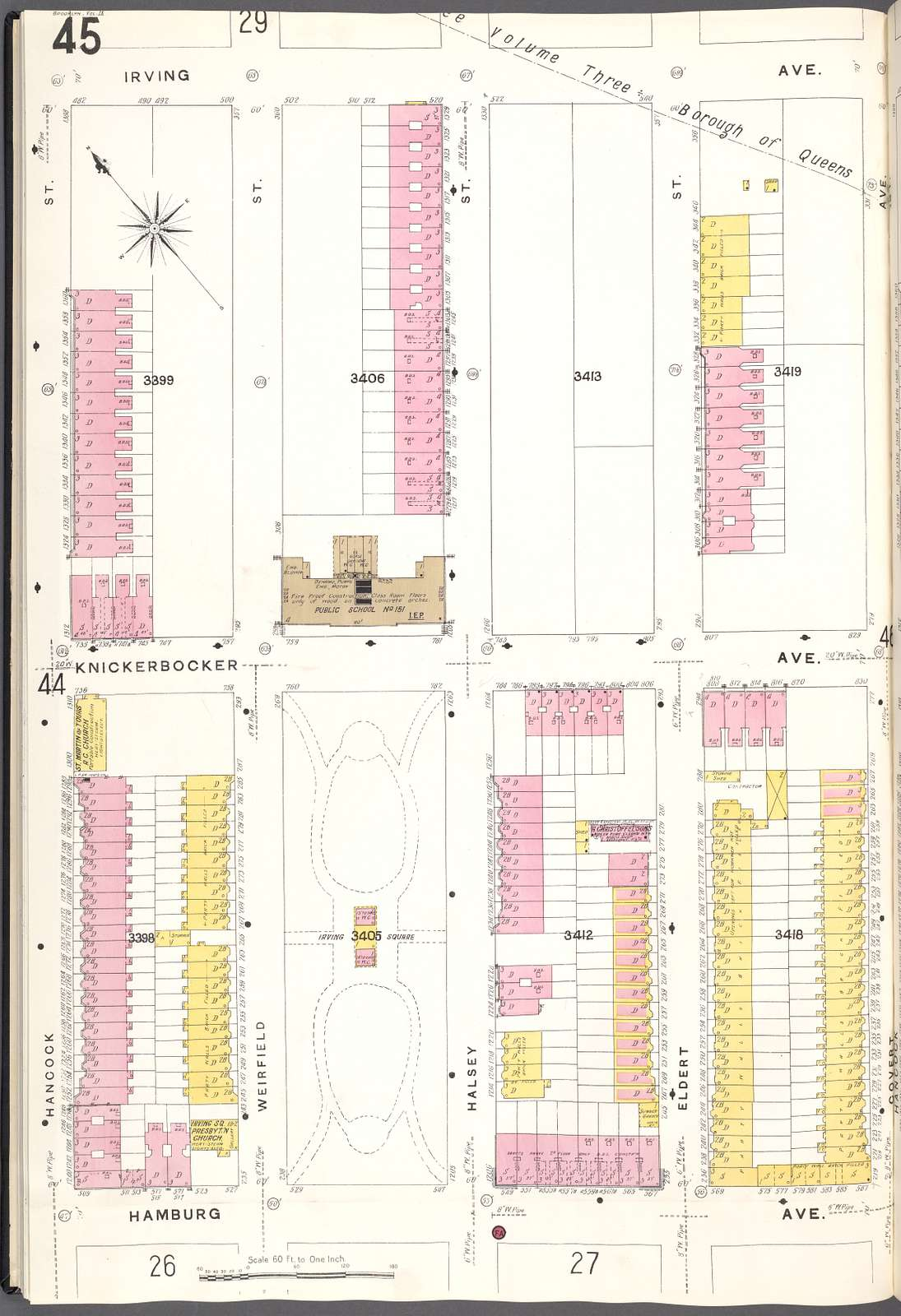 Brooklyn V. 9, Plate No. 45 [Map bounded by Irving Ave., Covert Ave., Hamburg Ave., Hancock St.]