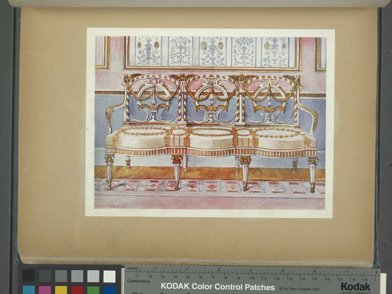 White gilt and painted settee. Pergolesi influence. From the Orrock collection, ca. 1780.