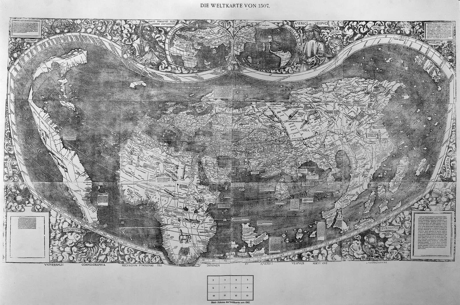 Universalis cosmographia secundum Ptholomæi traditionem et Americi Vespucii aliorū que lustrationes.