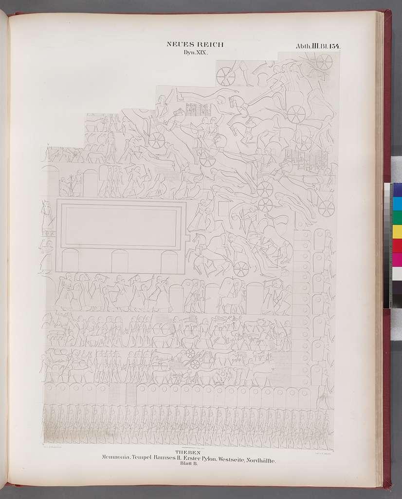 Neues Reich. Dynastie. XIX. Theben [Thebes]. Memnonia [Ramesseum]. Tempel Ramses II. Erster Pylon. Westseite, Nordhälfte. Blatt B.