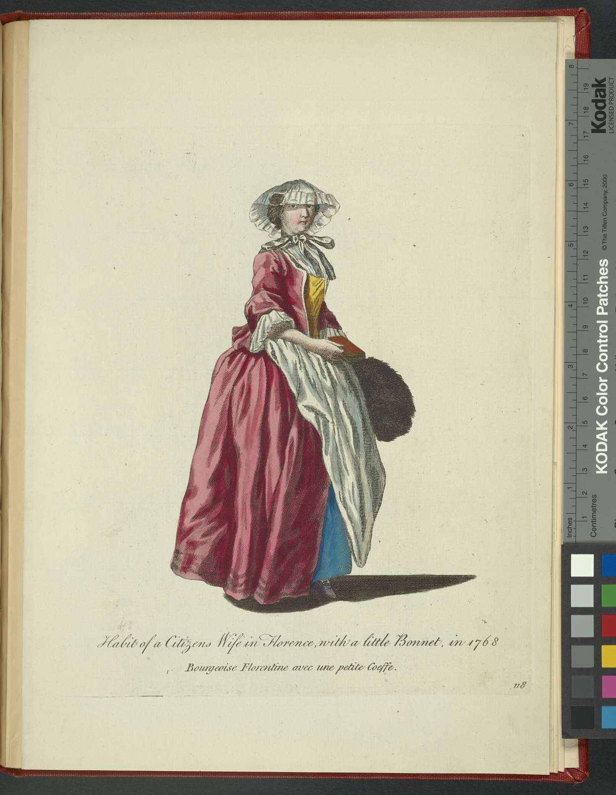 Habit of a citizen's wife in Florence, with a little bonnet, in 1768. Bourgeoise Florentine avec une petite coeffe.