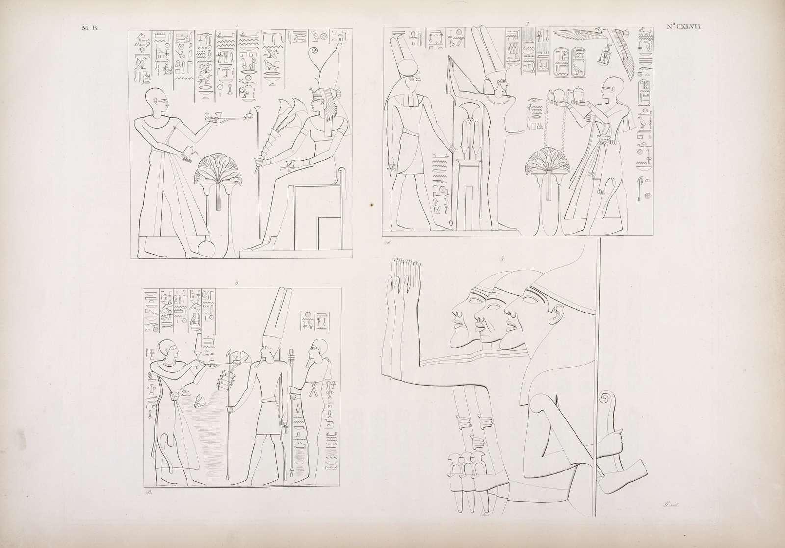 Fig. 1. Pehôr come sacerdote fa offerte a Mut. Fig. 2.  Il medesimo come re offre ad Amon-rê [Amon] e a Scions. Fig. 3. Pisciam come sacerdote fa offerte ad Amon-rê  e a Scions. Fig. 4. Frammento di un gruppo di nemici percossi da Sciscionk [Shoshenq I].