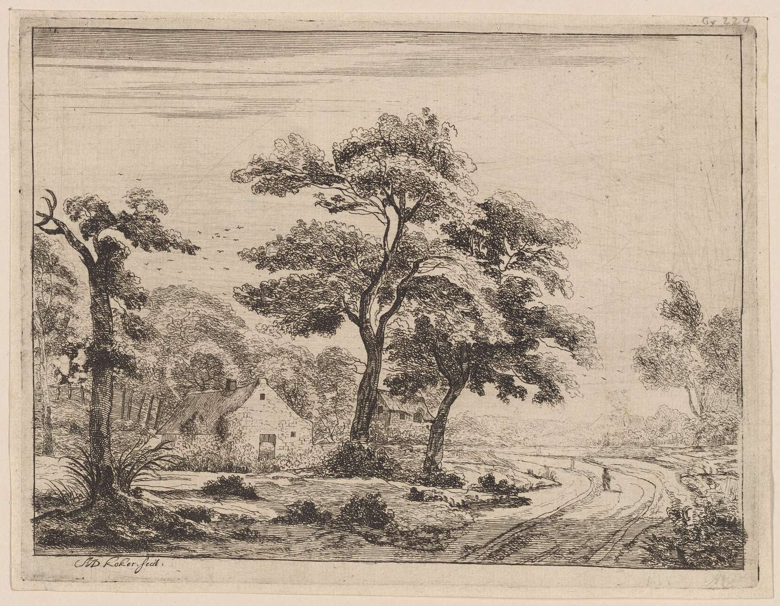 Landscape : a road, on which a figure is walk ing, passes two cottages under trees on the left