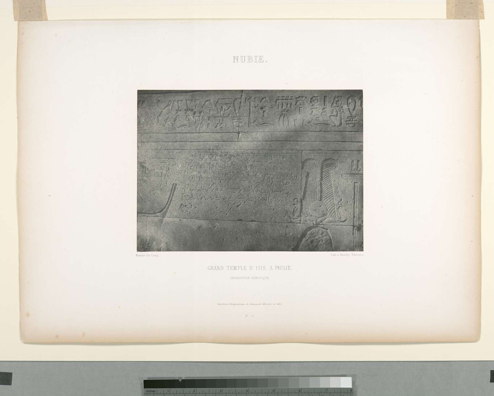Nubie. Grand Temple d'Isis, à Philœ, inscription démotique.