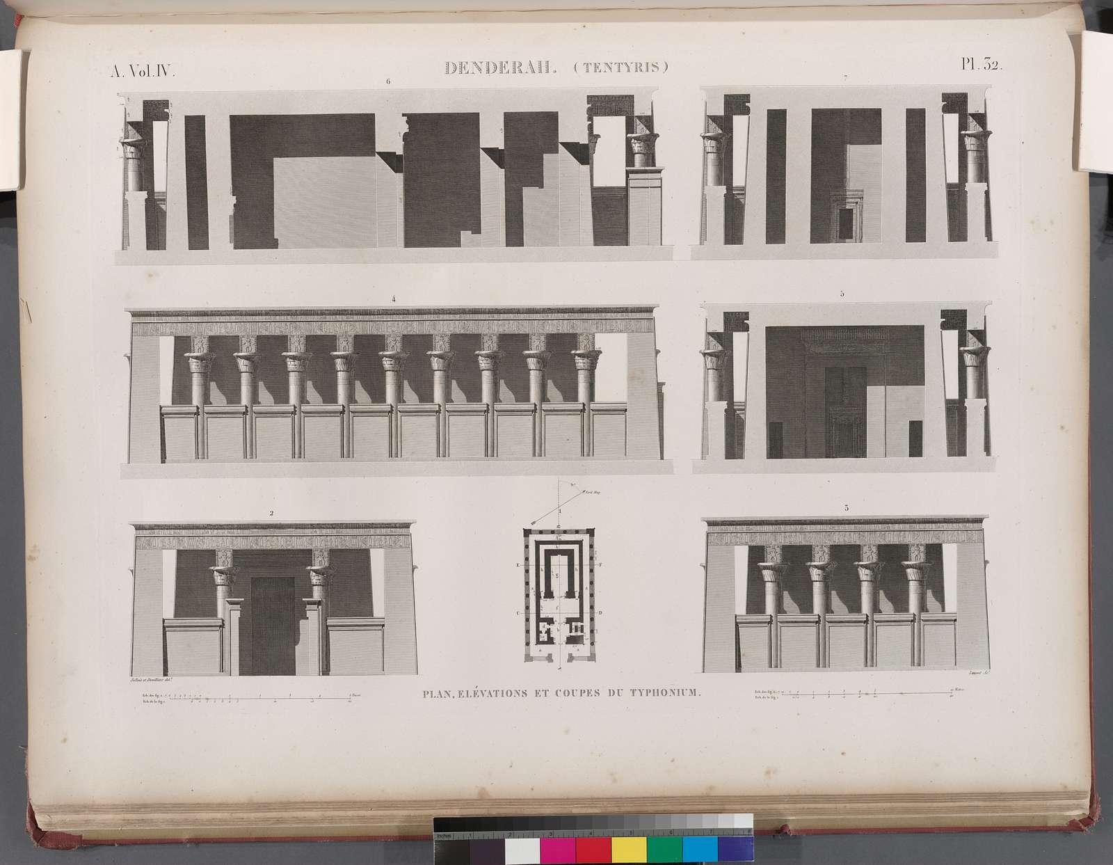 Denderah [Dandara] (Tentyris). Plan,  élévations et coupes du Typhonium.