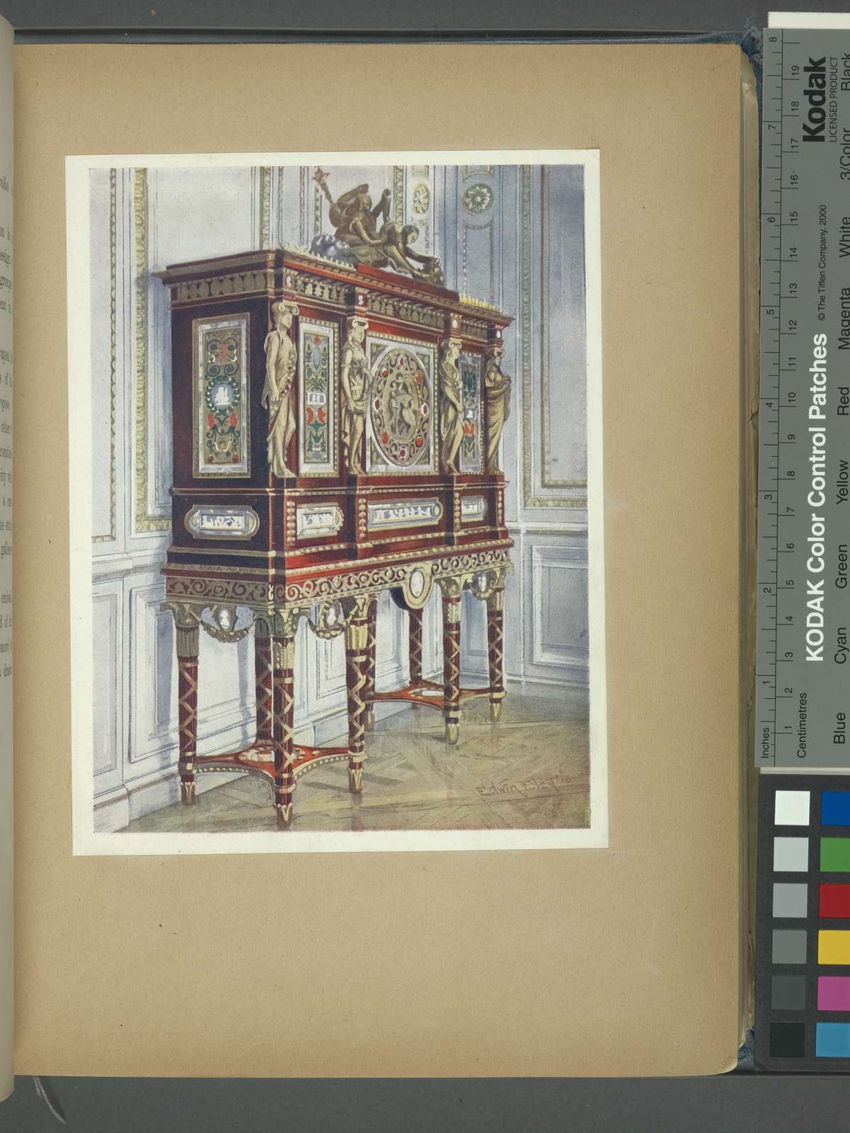 Jewel cabinet of Queen Marie Antoinette, of mahogany, gilt, inlaid, carved, and with painted plaques. French Louis XVI. Period, Pompeian-classic influence, ca. 1787. Palace of Versailles, France.