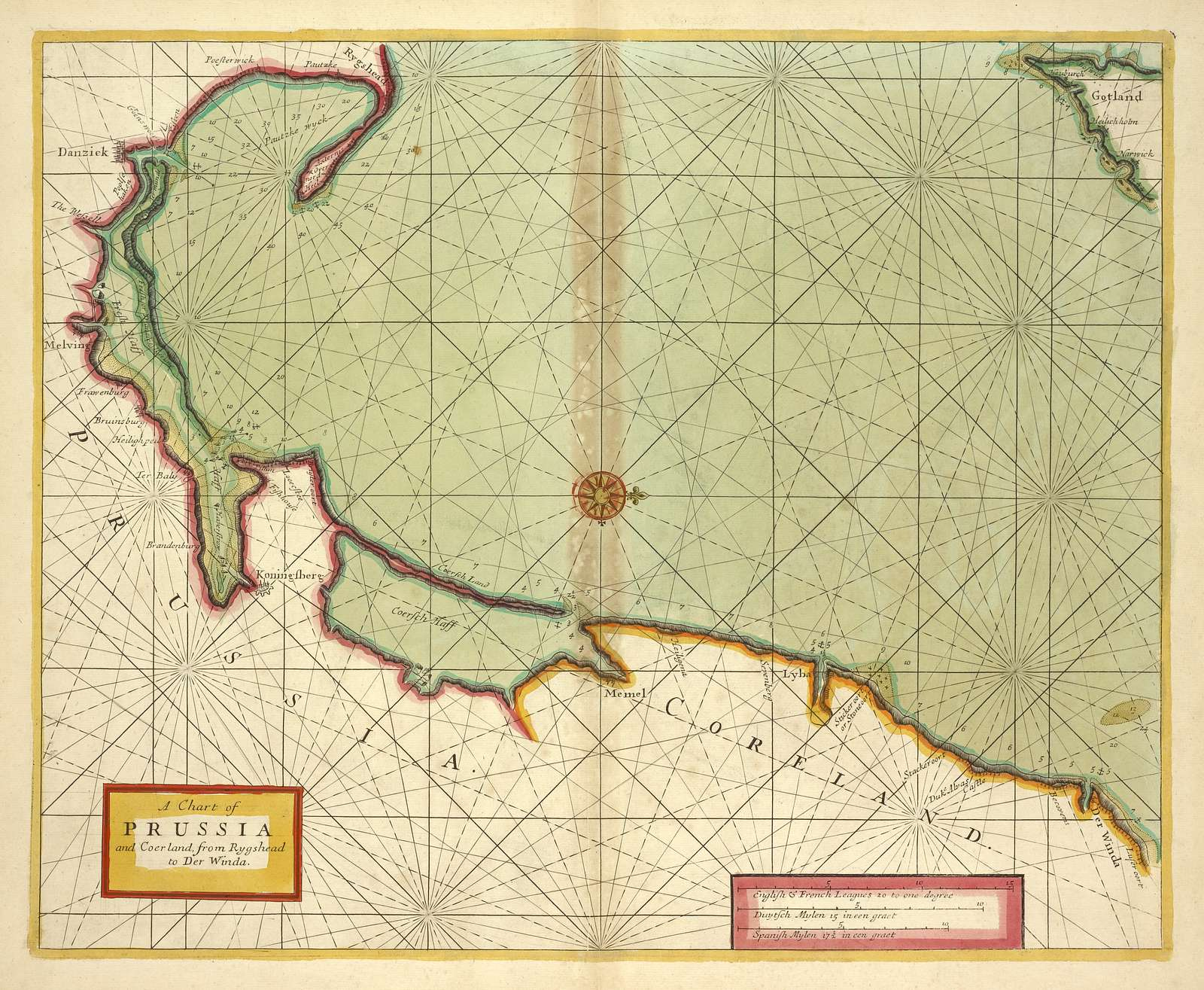 A chart of PRUSSIA and Coerland from Rygshead to Der Winda