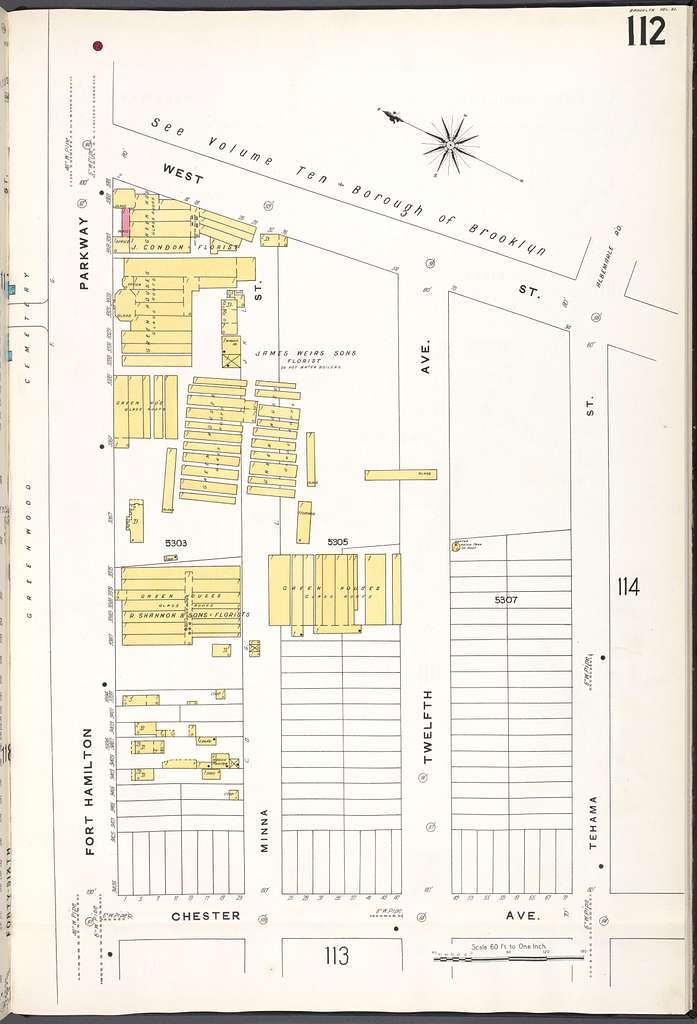 Brooklyn V. 11, Plate No. 112 [Map bounded by West St., Tehama St., Chester Ave., Fort Hamilton Parkway]
