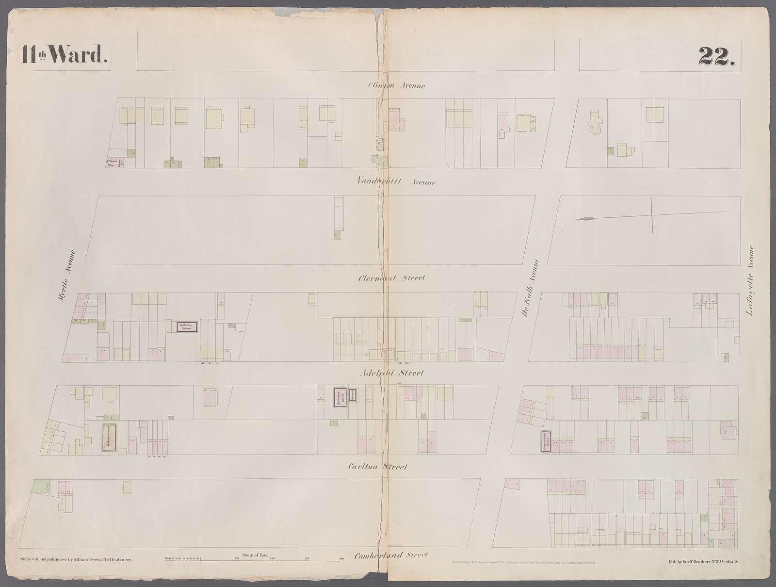 Plate 22: Map bounded by Myrtle Avenue, Clinton Street, Lafayette Avenue, Cumberland Street