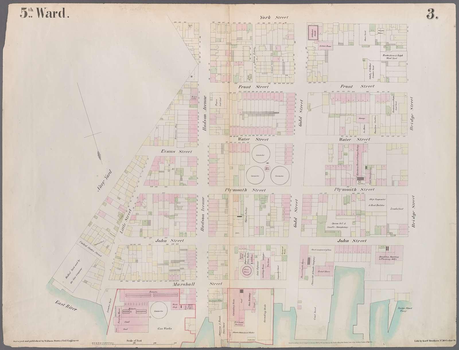 [Plate 3: Map bounded by East River, Brooklyn Navy Yard, York Street, Bridge Street.]