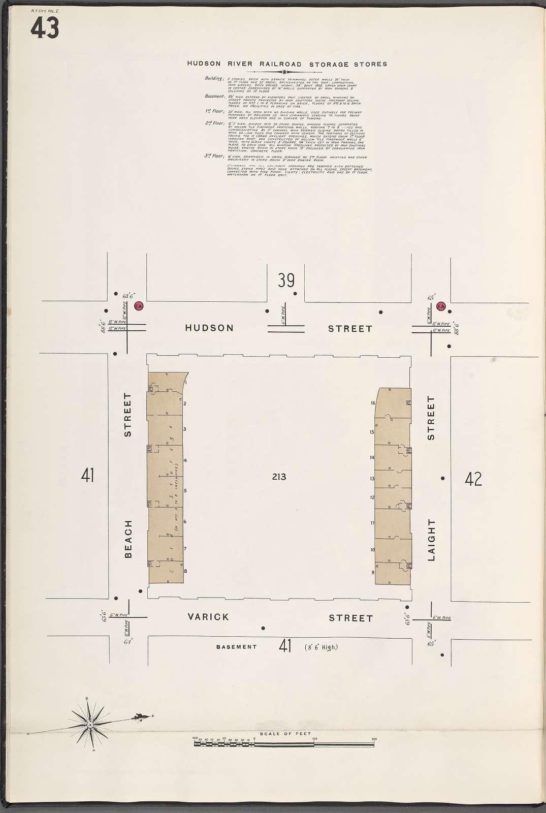 Manhattan, V. 1, Plate No. 43 [Map of Hudson River Railroad storage stores: basement, bounded by Hudson St., Laight St., Varick St., Beach St.]
