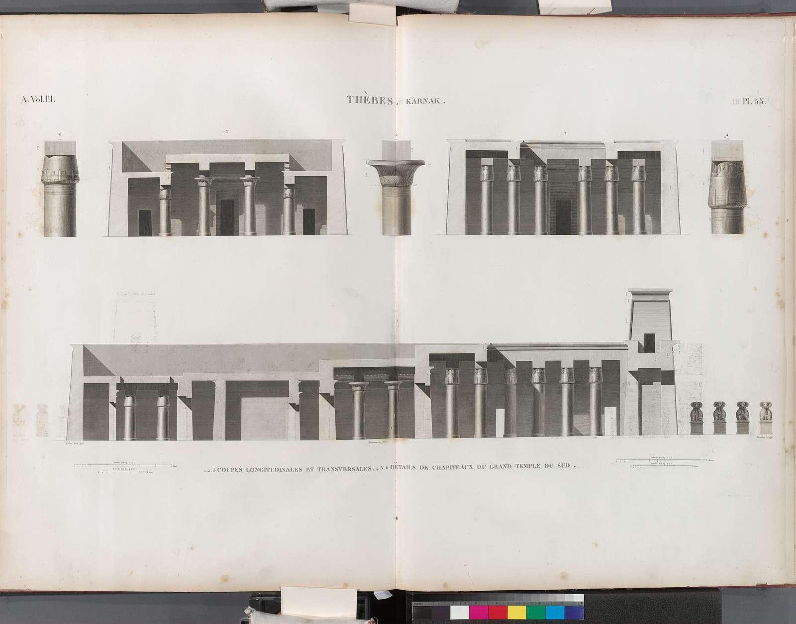 Thèbes. Karnak. 1-3. Coupes longitudinales et transversales; 4-6. Détails de chapiteaux du Grand Temple du sud.