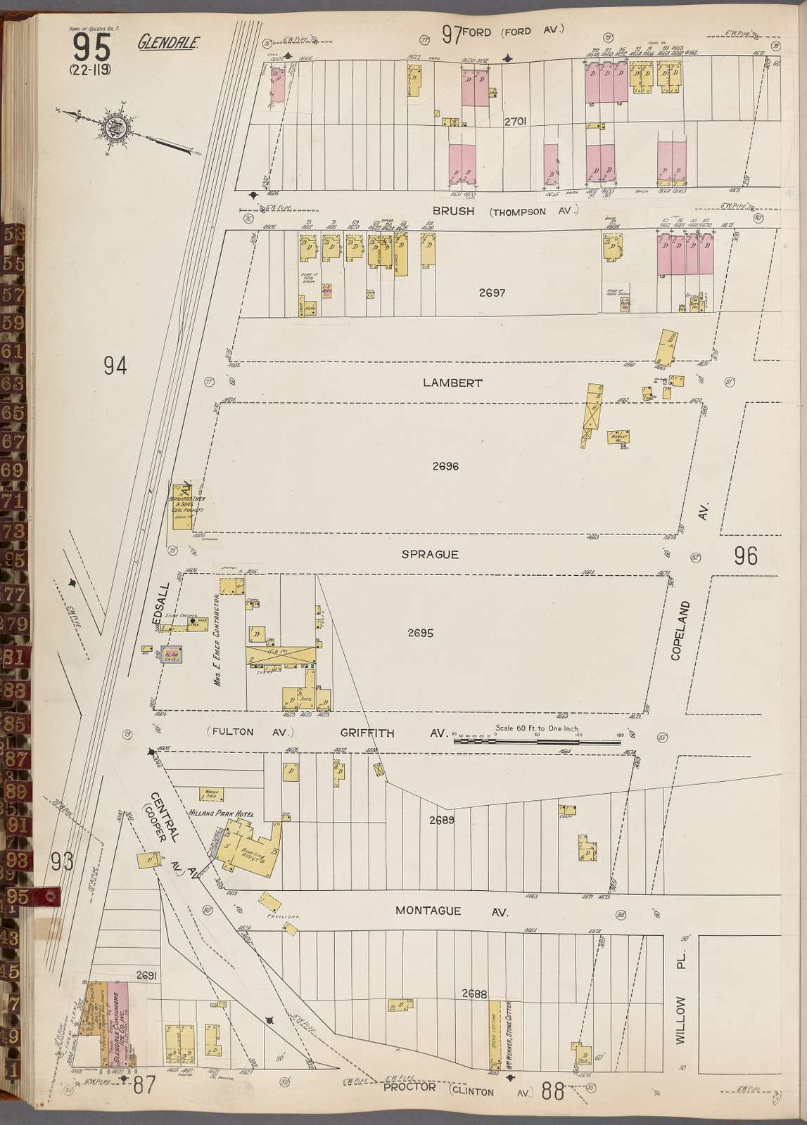 Queens V. 3, Plate No. 95 [Map bounded by Ford, Copeland Ave., Willow Pl., Proctor, Edsall Ave.]