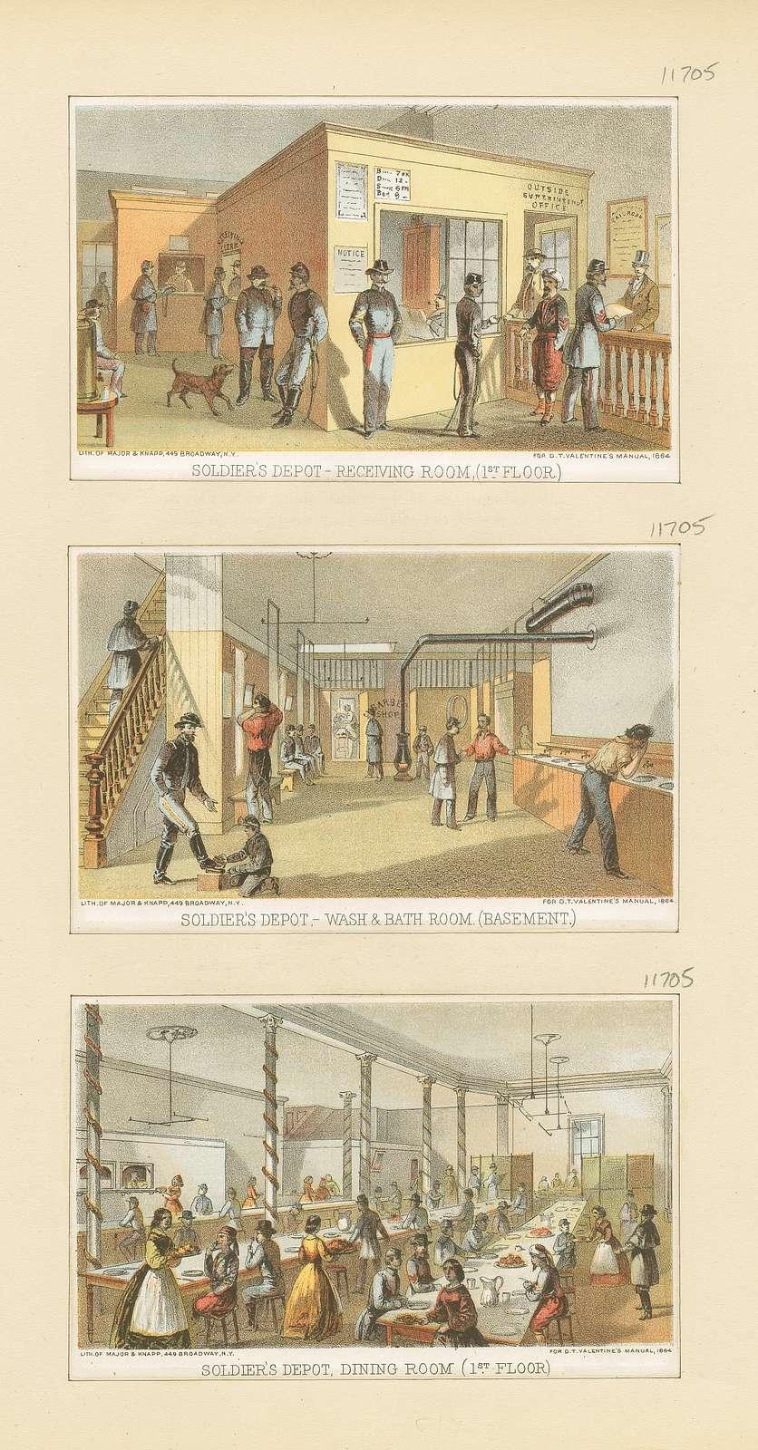 Soldier's Depot, receiving room (1st floor); Soldier's Depot, wash & bath room (basement); Soldier's Depot, dining room (1st floor)