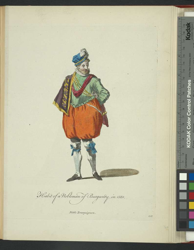 Habit of a nobleman of Burgundy in 1581. Noble Bourguignon.
