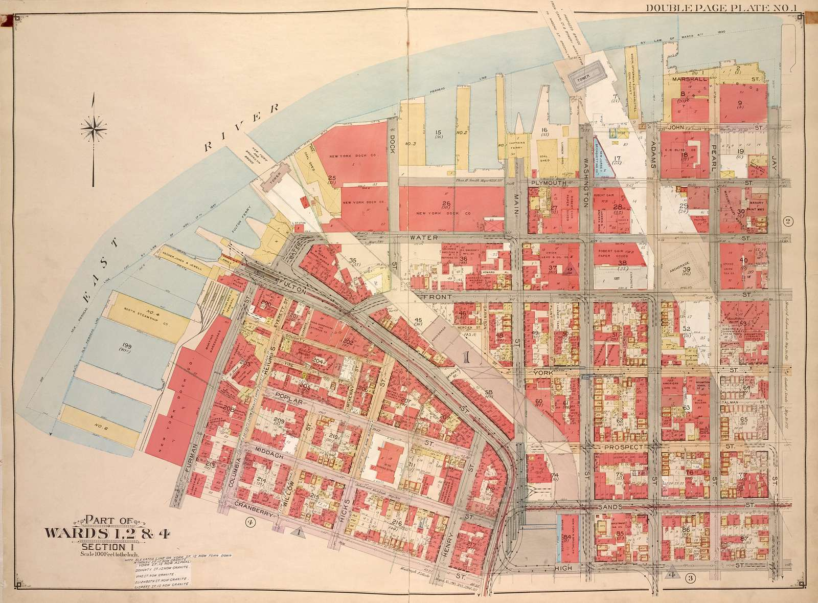 Brooklyn, Vol. 1, Double Page Plate No. 1; Part of Wards 1, 2 & 4, Section 1; [Map bounded by Plymouth St., Marshall St., John St., Jay St., High St.; Including Cranberry St., Furman St., Fulton St., Water St., Dock St.]