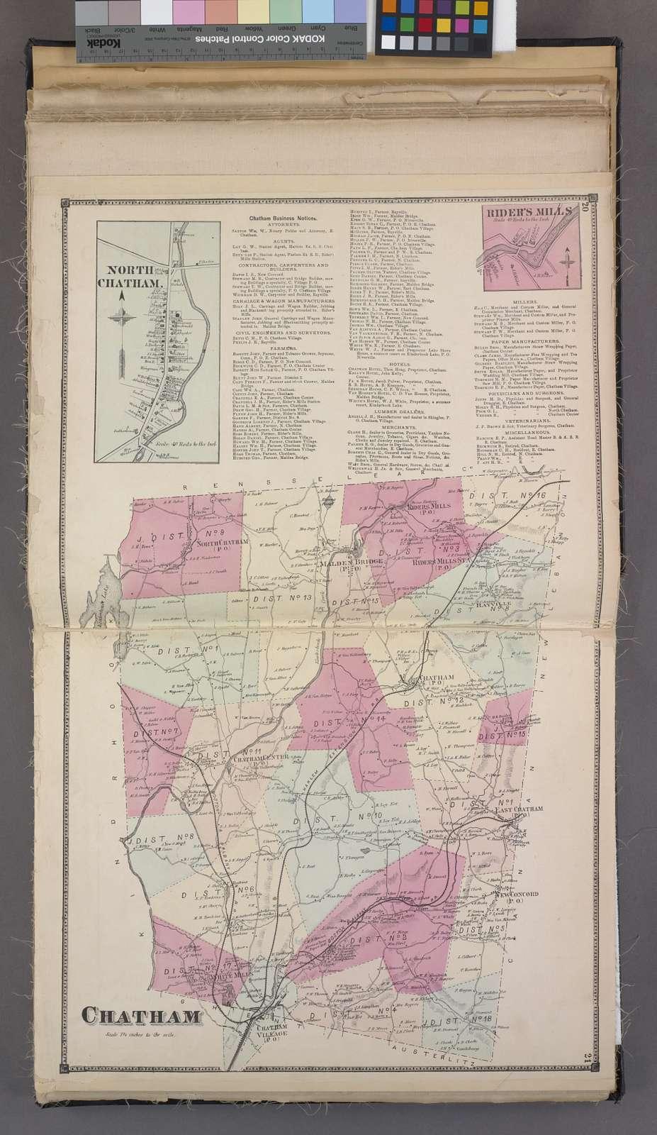 North Chatham. [Village]; Chatham Business Notices.; Ridder's Mills [Village]; Chatham [Township]