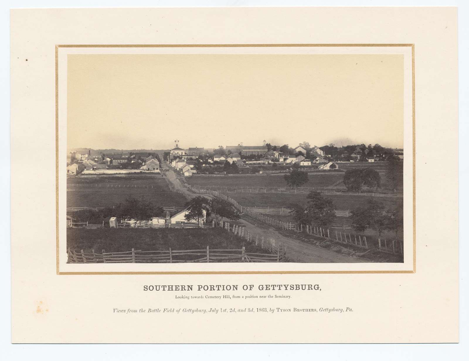 Southern portion of Gettysburg, looking toward Cemetery Hill, from a position near the Seminary.