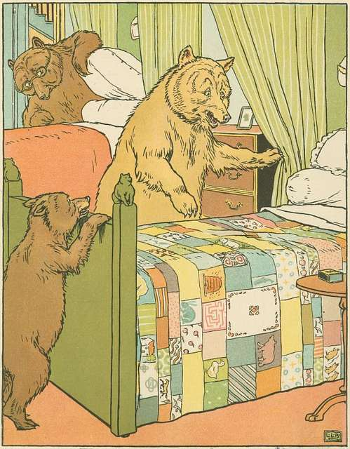 Mamma bear checks the beds.