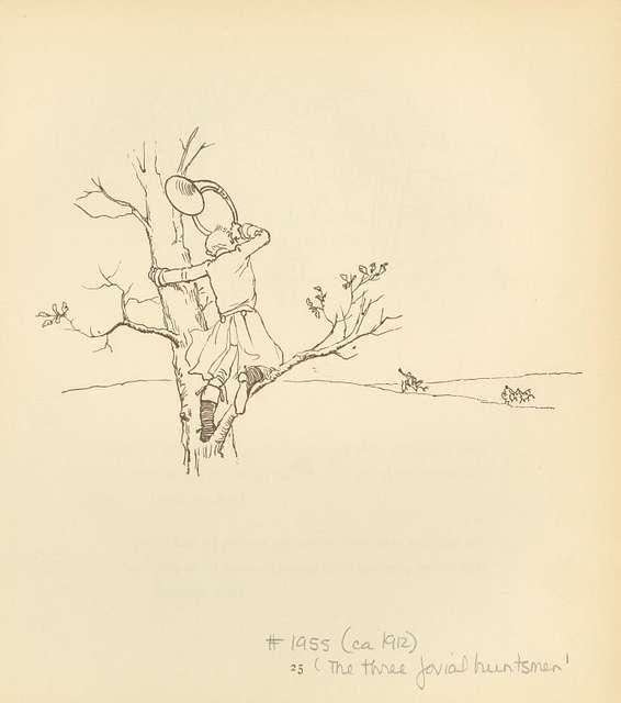 [A huntsman in the tree.]