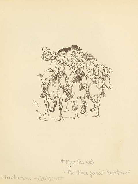 Three jovial huntsmen talking as they ride.